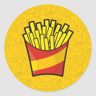French Fries Round Sticker