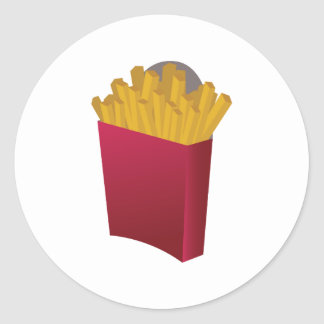 French Fries Round Stickers