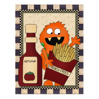 French Fry Monster cartoon postcard