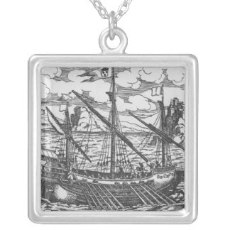 French galley silver plated necklace