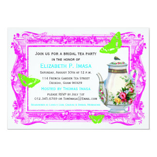 French Garden Bridal Tea Party 13 Cm X 18 Cm Invitation Card