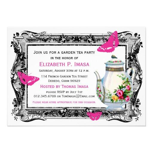 French Garden Tea Party Custom Invitation