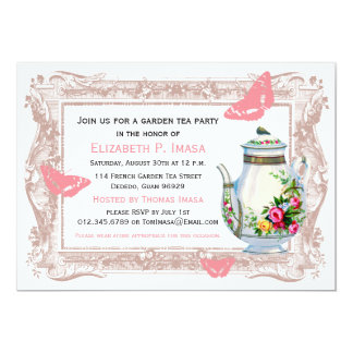 French Garden Tea Party 13 Cm X 18 Cm Invitation Card