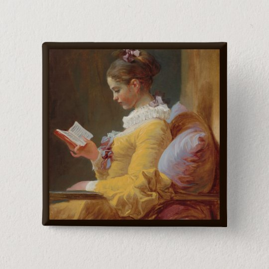 French Girl in Yellow Dress Reading 15 Cm Square Badge