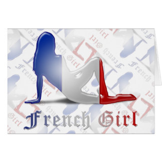 French Girl Silhouette Flag Greeting Card