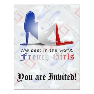 """French Girl Silhouette Flag 4.25"""" X 5.5"""" Invitation Card"""