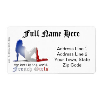French Girl Silhouette Flag Shipping Label