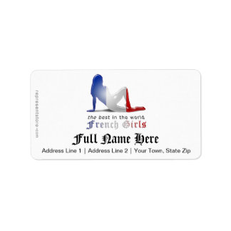 French Girl Silhouette Flag Address Label