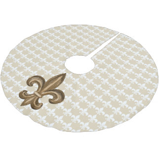 French Golden Fleur De Lis Crest Brushed Polyester Tree Skirt