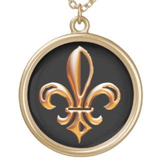 French Golden Fleur de Lis Round Pendant Necklace
