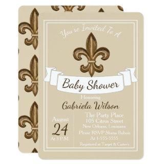 French Golden Fleur de Lis Neutral Baby Shower Card