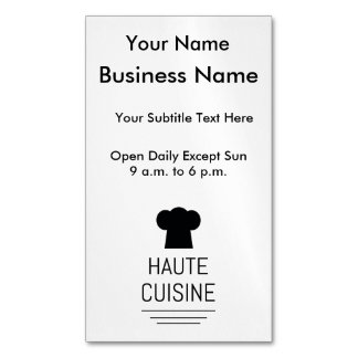 French Gourmet Haute Cuisine Magnetic Business Cards