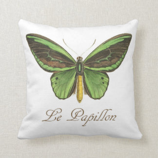 French Green Butterfly Pillow
