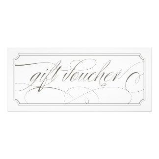 French Grey Elegant Script Gift Vouchers Rack Card