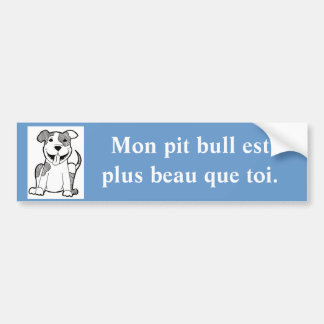 French Handsome Pit Bull Bumper Sticker