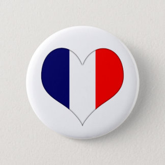 French Heart 6 Cm Round Badge