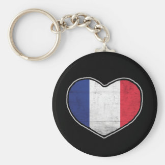 French Heart Basic Round Button Key Ring