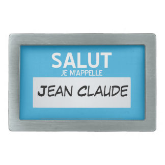 French Hello My Name Is ... Customizable Rectangular Belt Buckle