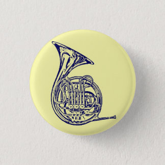 French Horn 3 Cm Round Badge