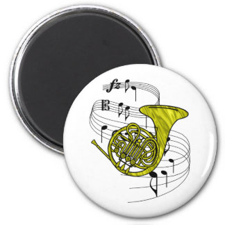 French Horn 6 Cm Round Magnet