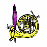 French horn and tassel product design photo cutouts