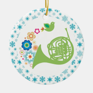 French Horn Band Music Christmas Keepsake Round Ceramic Decoration