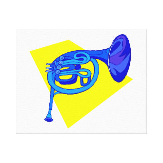 French Horn Blue Version With Yellow Canvas Print