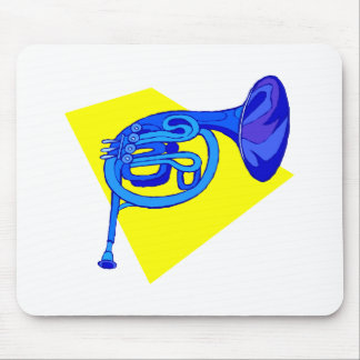 French Horn Blue Version With Yellow Mousepad