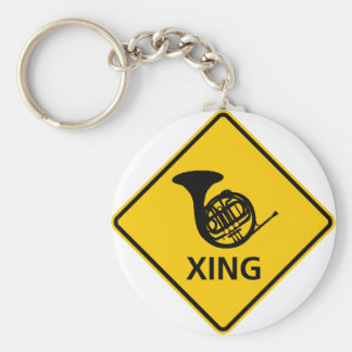 French Horn Crossing Highway Sign Key Ring