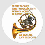 French Horn Cutie Round Stickers