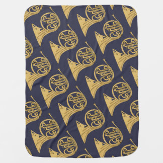French Horn Instrument Drawing Buggy Blankets