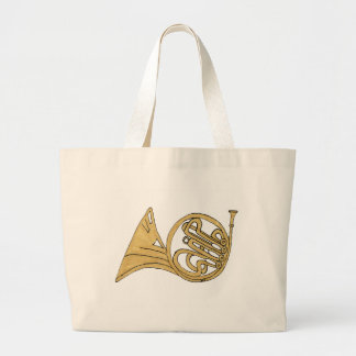 French Horn Instrument Drawing Jumbo Tote Bag