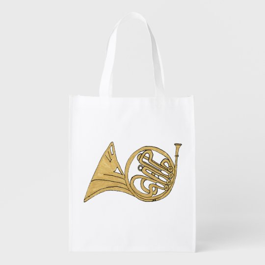 French Horn Instrument Drawing Reusable Grocery Bag