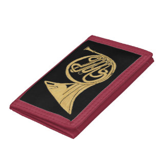 French Horn Instrument Drawing Tri-fold Wallets