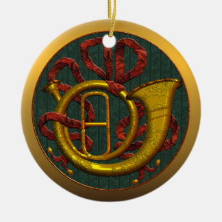 French Horn Michigan State Christmas Ornament