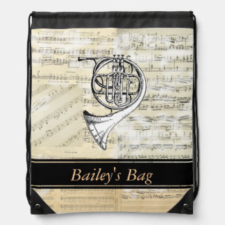 French Horn Music Personalized Drawstring Backpack