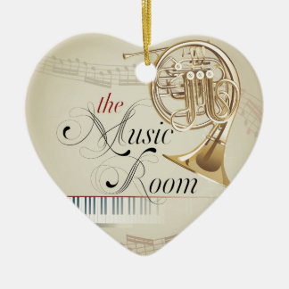 French Horn Music Room Ceramic Heart Decoration