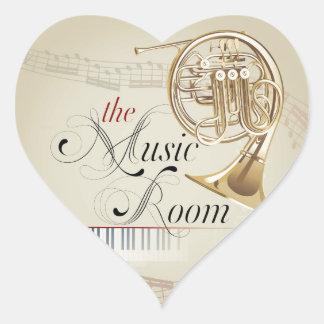 French Horn Music Room Heart Sticker
