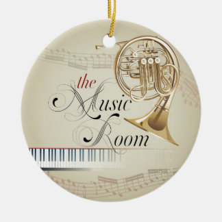 French Horn Music Room Round Ceramic Decoration