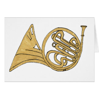 French Horn Musical Instrument Drawing Greeting Card