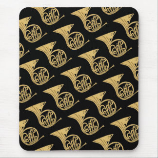 French Horn Musical Instrument Drawing on Black Mouse Mat