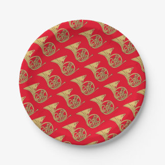 French Horn Musical Instrument Drawing on Red 7 Inch Paper Plate