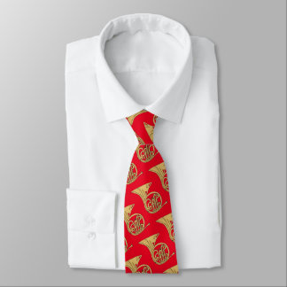 French Horn Musical Instrument Drawing on Red Tie