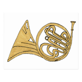 French Horn Musical Instrument Drawing Postcard