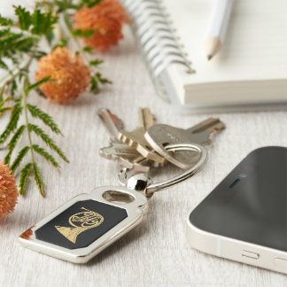 French Horn Musical Instrument Drawing Silver-Colored Rectangle Key Ring