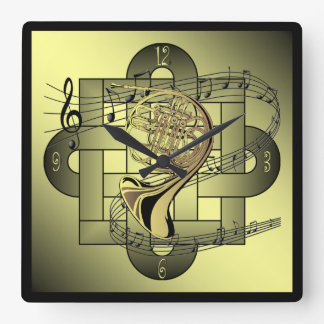French Horn ~ Musical Scale ~ Double Knot Graphic Square Wall Clock