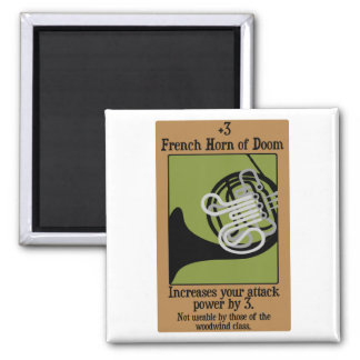 French Horn of Doom Square Magnet