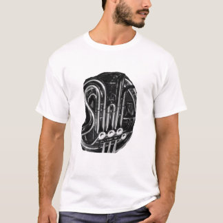 French Horn Piping Black and White photo design T-Shirt
