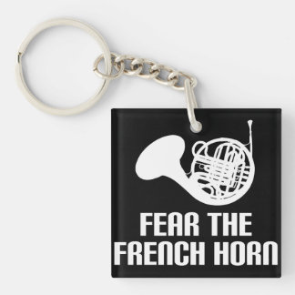 French Horn Quote Stocking Stuffer Gift Single-Sided Square Acrylic Key Ring
