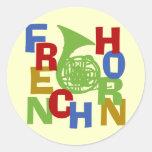 French Horn Scramble Round Sticker